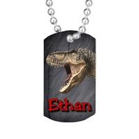 Collier pendentif GI Tag  Dinosaure personnalisé avec prénom