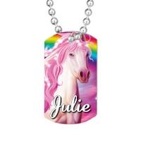 Collier pendentif GI Tag Cheval rose personnalisé avec prénom