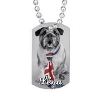 Collier pendentif GI Tag Chien Bulldog personnalisé avec prénom