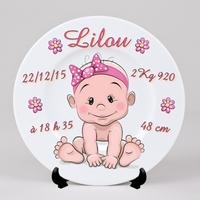 Assiette Naissance Fille personnalisée avec  prénom, date et heure de naissance, poids, taille...