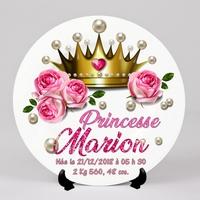 Assiette Naissance Princesse personnalisée avec  prénom, date et heure de naissance, poids, taille...