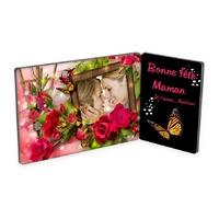 Maman Fête des mères Cadre photo double personnalisé avec votre photo et texte