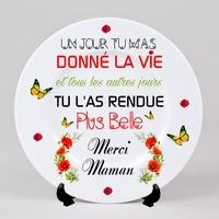 Assiette décorative céramique Cadeau de fête des mères Merci maman