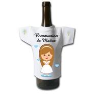 Mini tee shirt pour bouteille Communion fille personnalisé avec prénom et date