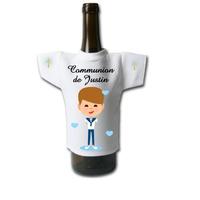 Mini tee shirt pour bouteille Communion garçon personnalisé avec prénom et date