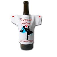 Mini tee shirt pour bouteille Mariage personnalisé avec prénoms et date