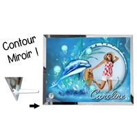Cadre en verre personnalisé avec votre photo et votre texte Thème dauphin