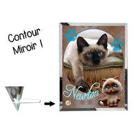 Cadre en verre personnalisé avec votre photo et votre texte Thème chaton