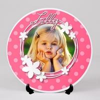 Assiette personnalisée avec votre photo et prénom (s) Thème Girly rose