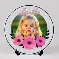 Assiette personnalisée avec votre photo et prénom (s) Thème Floral
