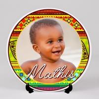 Assiette personnalisée avec votre photo et prénom (s) Thème Motifs africains