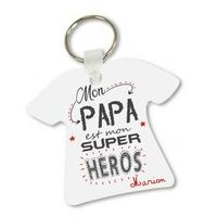 Porte clés T-shirt Mon papa est mon super héros personnalisé avec prénom