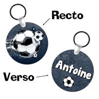 Porte-clés rond Football personnalisé avec prénom