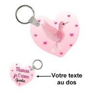 Porte-clés coeur Maman je t'aime à la folie personnalisé avec prénom