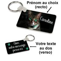Porte-clés rectangle Chat personnalisé avec prénom et message au dos