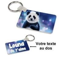 Porte-clés rectangle Panda personnalisé avec prénom et message au dos
