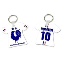 Porte clés Maillot de foot FRANCE Champions du monde personnalisé avec prénom et numéro