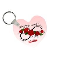 Porte-clés coeur Maman je t'aime à l'infini personnalisé avec prénom