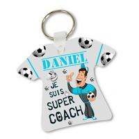 Porte clés T-shirt Super coach Entraineur football personnalisé avec prénom
