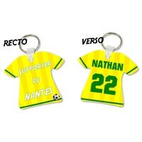 Porte clés Maillot de foot Nantes personnalisé avec prénom et numéro