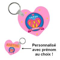 Porte-clés coeur Super maman personnalisé avec prénom