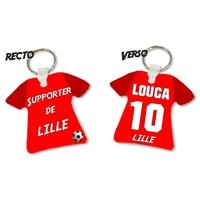 Porte clés Maillot de foot LILLE personnalisé avec prénom et numéro