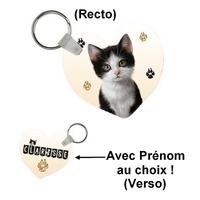 Porte-clés coeur Chaton personnalisé avec prénom