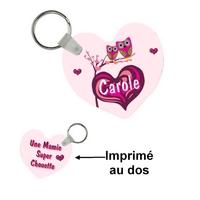 Porte-clés coeur Une mamie super chouette personnalisé avec prénom