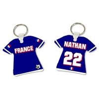 Porte clés Maillot de foot FRANCE personnalisé avec prénom et numéro