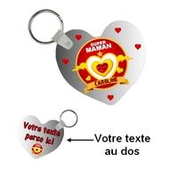Porte-clés coeur Super maman personnalisé avec prénom et texte au dos