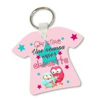 Porte clés T-shirt Une Nounou super chouette personnalisé avec prénom