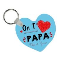 Porte-clés coeur On t'aime papa personnalisé avec prénoms en signature