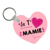 Porte-clés coeur Je t'aime mamie personnalisé avec prénom en signature