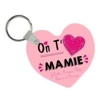 Porte-clés coeur On t'aime mamie personnalisé avec prénoms en signature