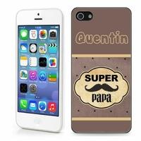 Coque iphone 4/4S, 5/5S, 6, 7, 8, X, XS, XR ou SE Super papa personnalisée avec prénom