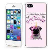 Coque iphone 4/4S 5/5S 6, 7, 8, X, XS, XR ou SE Humour J'ai un carlicorne Carlin+licorne