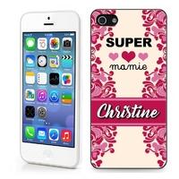 Coque iphone 4/4S, 5/5S, 6, 7, 8, X, XS, XR ou SE Super mamie personnalisée avec prénom