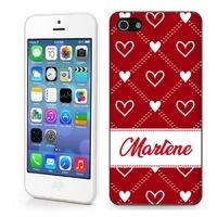 Coque iphone 4/4S, 5/5S, 6, 7, 8, X, XS, XR ou SE Amour Coeurs personnalisée avec prénom