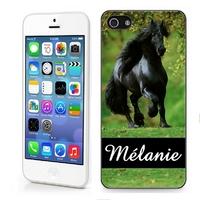 Coque iphone 4/4S, 5/5S, 6, 7, 8, X, XS, XR ou SE Cheval chevaux personnalisée avec prénom