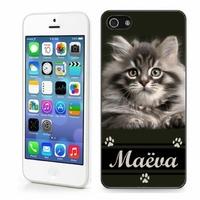 Coque iphone 4/4S, 5/5S, 6, 7, 8, X, XS, XR ou SE Chat chaton personnalisée avec prénom