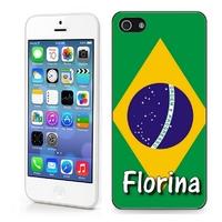 Coque iphone 4/4S, 5/5S, 6, 7, 8, X, XS, XR ou SE Brésil personnalisée avec prénom