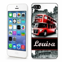 Coque iphone 4/4S, 5/5S, 6, 7, 8, X, XS, XR ou SE Anglais Londres personnalisée avec prénom