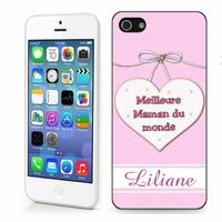 Coque iphone 4/4S, 5/5S, 6, 7, 8, X, XS, XR ou SE Meilleure maman personnalisée avec prénom
