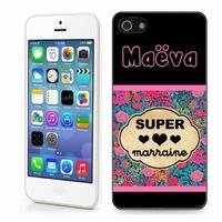 Coque iphone 4/4S, 5/5S, 6, 7, 8, X, XS, XR ou SE Super marraine personnalisée avec prénom