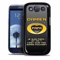 Coque samsung galaxy S4 S5 S6 S7 S8 S9 Super papa personnalisée avec prénom