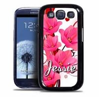 Coque samsung galaxy S4 S5 S6 S7 S8 S9 Fleurs personnalisée avec prénom