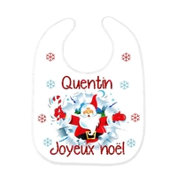 Bavoir bébé Joyeux Noël personnalisé avec prénom