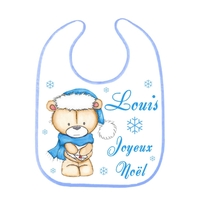 Bavoir bébé Noël Ourson personnalisé avec prénom