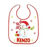 Bavoir bébé Noël Bonhomme de neige personnalisé avec prénom