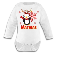Body bébé Noël Ourson personnalisé avec prénom au choix